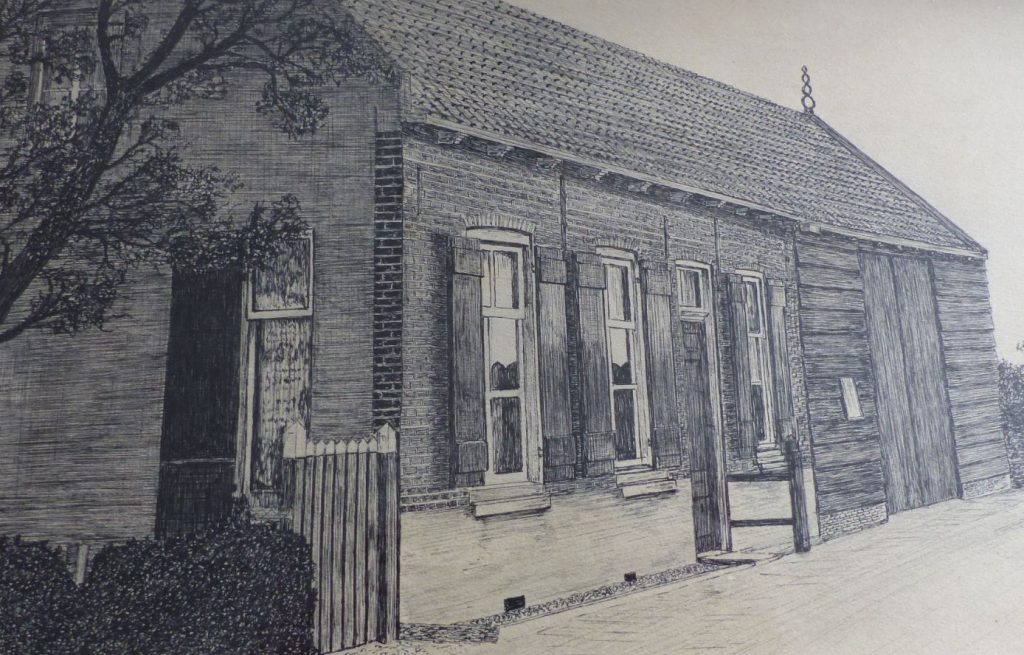 Arriba, dibujo de la casa de Piet Vreeswijk antes de ser destruida por el agua