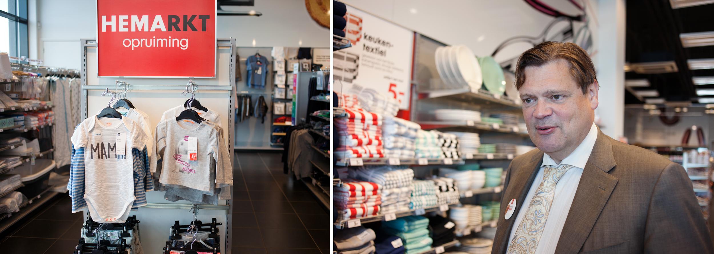 A la izquierda, moda infantil en una tienda HEMA de Ámsterdam. A la derecha, Emile Ruempol, director de Expansión y Desarrollo de Negocio de la marca. ©Fernández Solla Fotografie