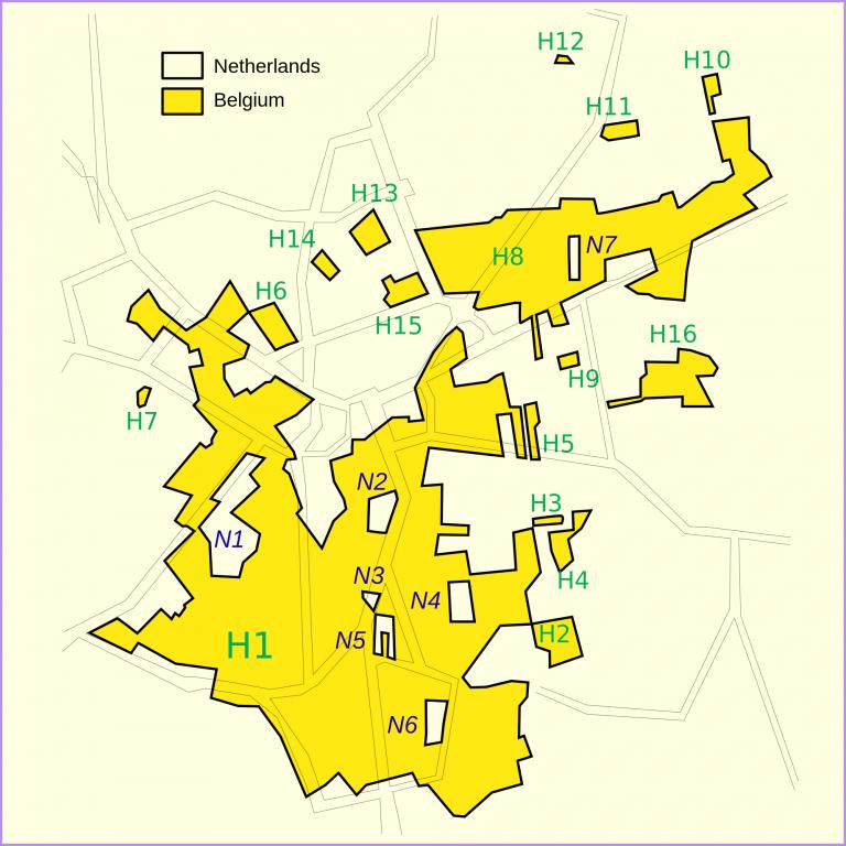 plano con las delimitaciones de Baarle Hertog (H) y Baarle Nassau (N)/ Wikimedia Commons