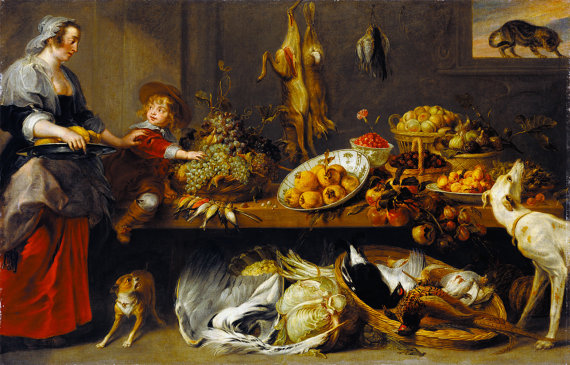 Cocina Naturaleza Muerta con sirvienta y muchacho joven, obra de Frans Snyders y Jan Boeckhorst.