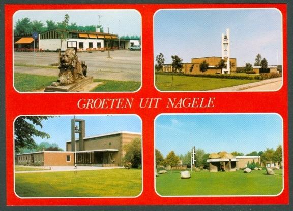 Postal de Nagele con las cuatro iglesias
