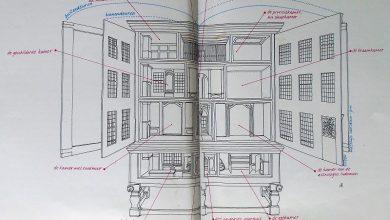 A la derecha, dibujo de su interior, de libro dedicado a esta casa y publicado por el mismo museo © Frans Halsmuseum Haarlem