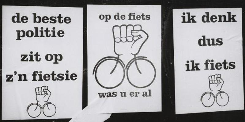 Carteles de protesta en 1980 en Ámsterdam.