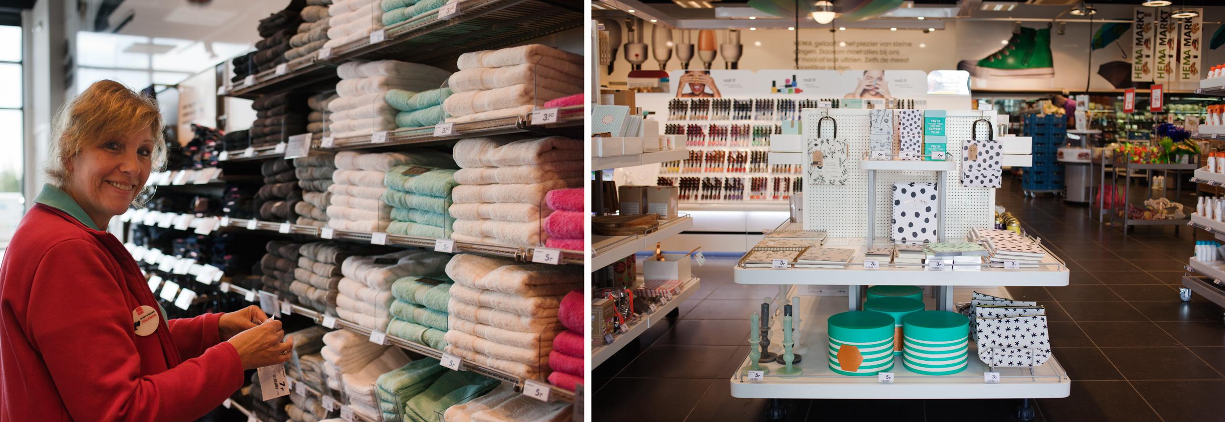A la izquierda, los artículos tal y como se disponen en las tiendas en Holanda. A la derecha las mesas que se utilizan para mostrar el producto de una manera más visible en las tiendas del resto de Europa. © Fernández Solla Fotografie